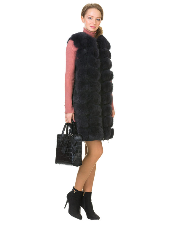 Меховой жилет мех песец, цвет темно-серый, арт. 30902718  - цена 14990 руб.  - магазин TOTOGROUP