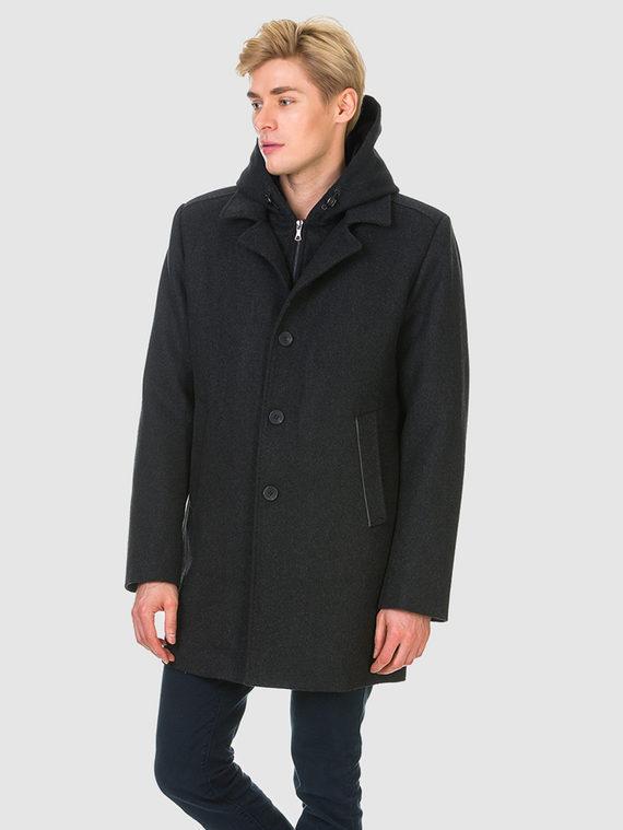 Текстильное пальто 51% п/э,49%шерсть, цвет темно-серый, арт. 30902749  - цена 4740 руб.  - магазин TOTOGROUP