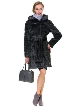 Шуба под норку мех под норку, цвет темно-серый, арт. 30902989  - цена 12690 руб.  - магазин TOTOGROUP