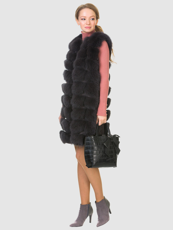 Меховой жилет мех песец, цвет темно-серый, арт. 30903477  - цена 16990 руб.  - магазин TOTOGROUP