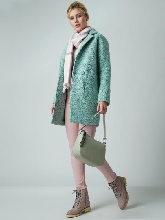 Текстильное пальто 50%шерсть, 50% п/а, цвет светло-зеленый, арт. 32005653  - цена 5890 руб.  - магазин TOTOGROUP