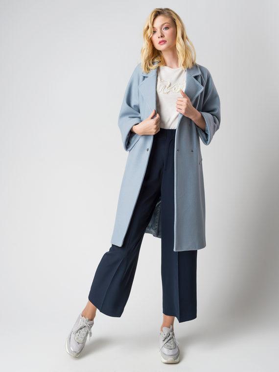 Текстильное пальто 30%шерсть, 70% п\а, цвет голубой, арт. 32005833  - цена 6290 руб.  - магазин TOTOGROUP