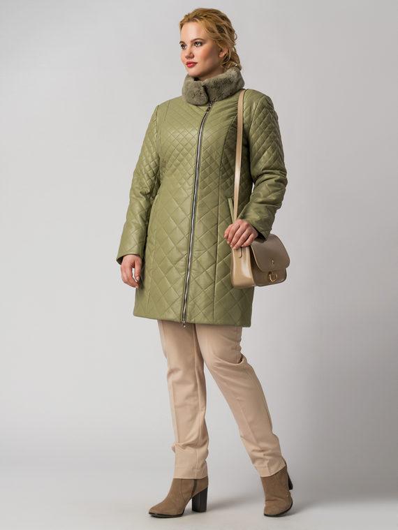 Кожаное пальто эко кожа 100% П/А, цвет светло-зеленый, арт. 32006135  - цена 6630 руб.  - магазин TOTOGROUP