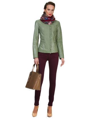 Кожаная куртка кожа овца, цвет светло-зеленый, арт. 32700045  - цена 13390 руб.  - магазин TOTOGROUP
