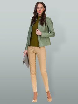 Кожаная куртка кожа овца, цвет светло-зеленый, арт. 32700048  - цена 14190 руб.  - магазин TOTOGROUP