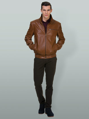 Кожаная куртка эко кожа 100% П/А, цвет рыжий, арт. 33700200  - цена 5890 руб.  - магазин TOTOGROUP