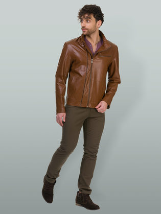Кожаная куртка эко кожа 100% П/А, цвет рыжий, арт. 33700201  - цена 4990 руб.  - магазин TOTOGROUP