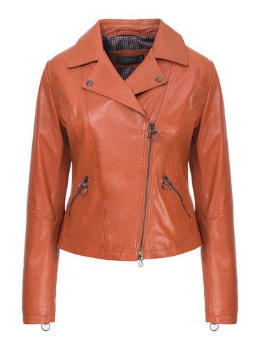 Кожаная куртка кожа, цвет рыжий, арт. 33802501  - цена 11990 руб.  - магазин TOTOGROUP
