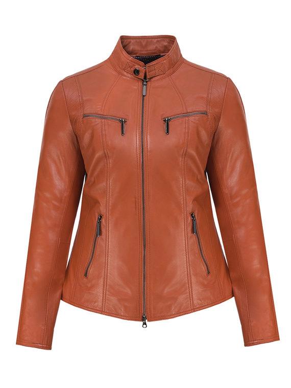 Кожаная куртка кожа, цвет рыжий, арт. 33802508  - цена 13390 руб.  - магазин TOTOGROUP