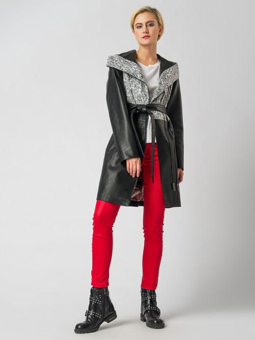 Кожаное пальто артикул 34005941/44