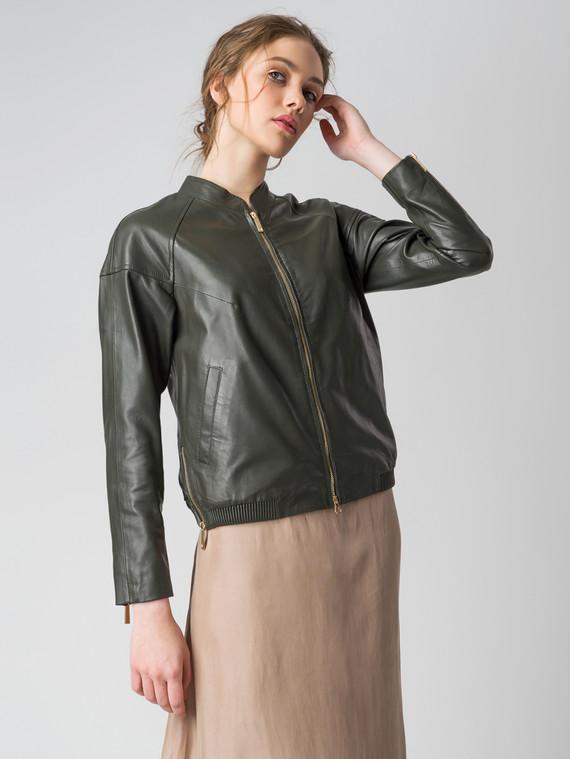 Кожаная куртка кожа , цвет темно-зеленый, арт. 35005543  - цена 9490 руб.  - магазин TOTOGROUP