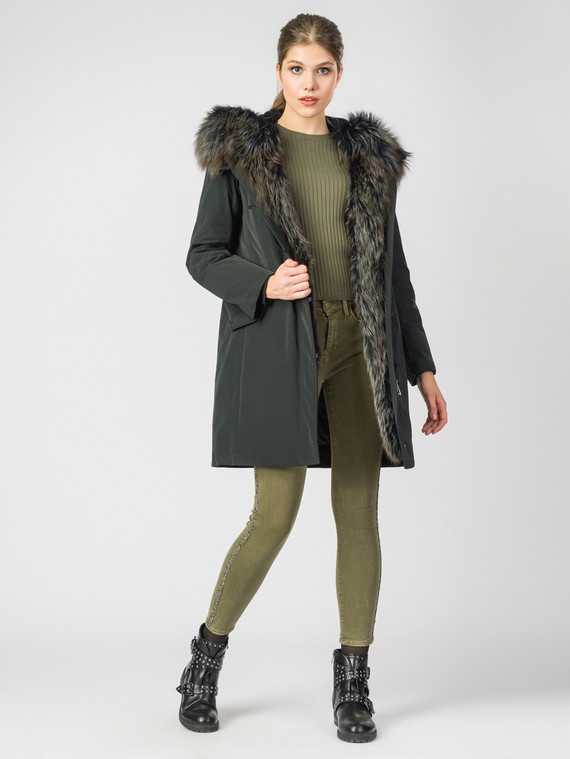 Парка текстиль, цвет темно-зеленый, арт. 35006378  - цена 39990 руб.  - магазин TOTOGROUP