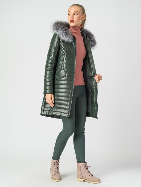 Кожаное пальто эко-кожа 100% П/А, цвет темно-зеленый, арт. 35006840  - цена 10590 руб.  - магазин TOTOGROUP