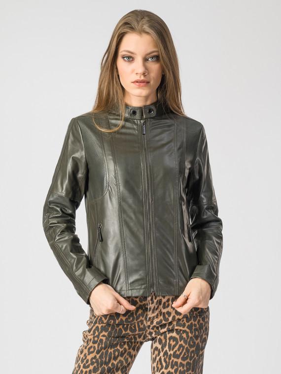 Кожаная куртка кожа , цвет темно-зеленый, арт. 35106278  - цена 8490 руб.  - магазин TOTOGROUP