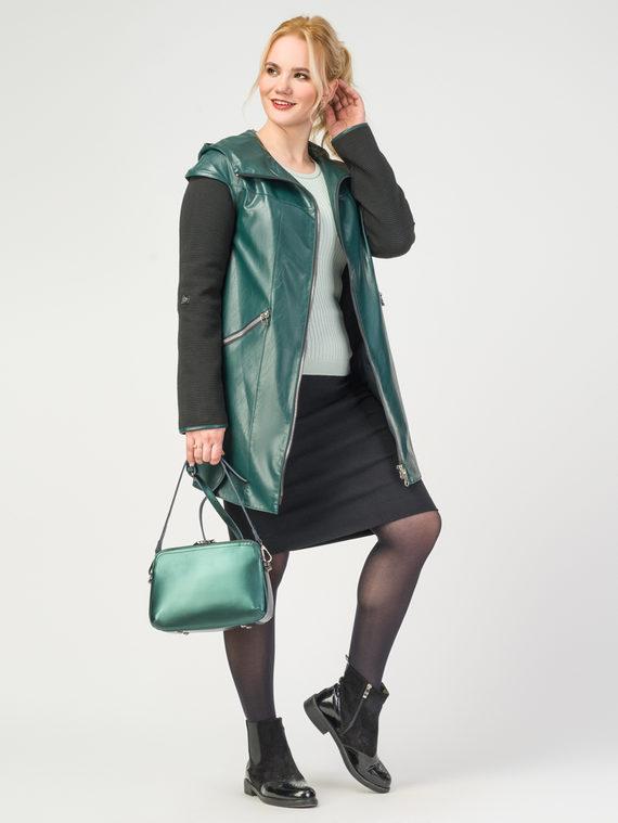 Кожаная куртка эко-кожа 100% П/А, цвет темно-зеленый, арт. 35108280  - цена 8990 руб.  - магазин TOTOGROUP