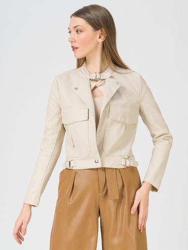 Кожаная куртка эко-кожа 100% П/А, цвет кремовый, арт. 36809889  - цена 2990 руб.  - магазин TOTOGROUP
