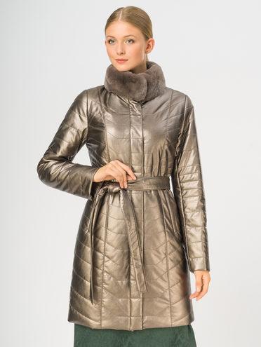 Кожаное пальто эко-кожа 100% П/А, цвет коричневый металлик, арт. 39108837  - цена 11990 руб.  - магазин TOTOGROUP