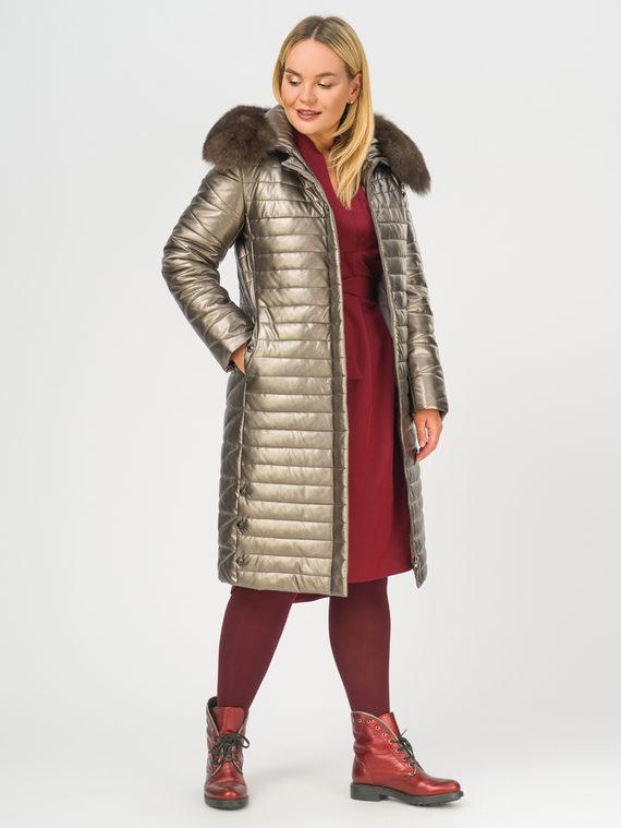 Кожаное пальто эко-кожа 100% П/А, цвет коричневый металлик, арт. 39108839  - цена 12690 руб.  - магазин TOTOGROUP