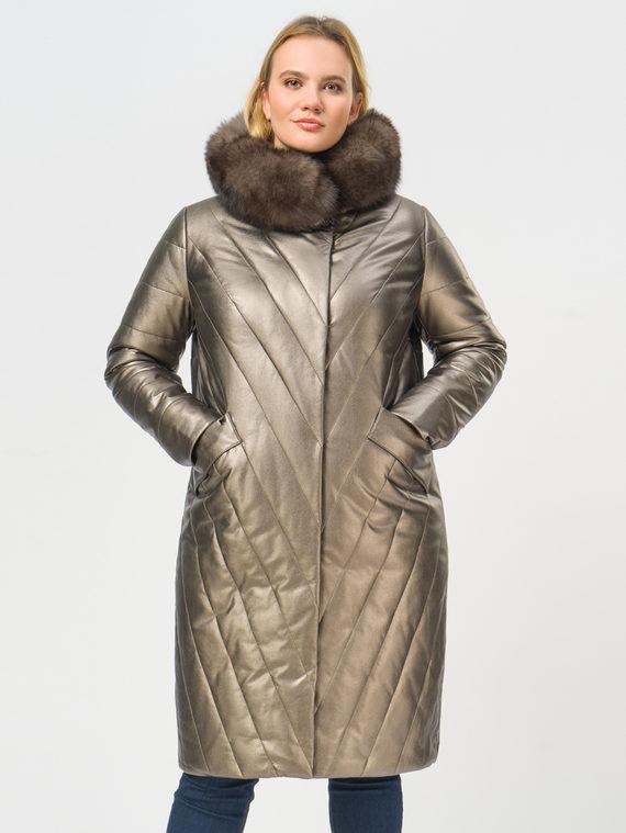 Кожаное пальто эко-кожа 100% П/А, цвет коричневый металлик, арт. 39109020  - цена 14990 руб.  - магазин TOTOGROUP
