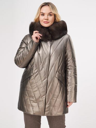 Кожаное пальто эко-кожа 100% П/А, цвет коричневый металлик, арт. 39109022  - цена 10590 руб.  - магазин TOTOGROUP