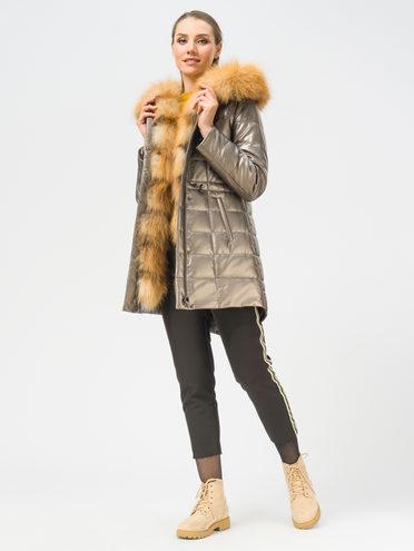 Кожаное пальто эко-кожа 100% П/А, цвет коричневый металлик, арт. 39109050  - цена 22690 руб.  - магазин TOTOGROUP