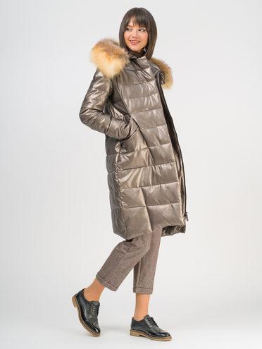 Кожаное пальто эко-кожа 100% П/А, цвет коричневый металлик, арт. 39109260  - цена 11990 руб.  - магазин TOTOGROUP
