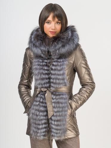 Кожаная куртка эко-кожа 100% П/А, цвет коричневый металлик, арт. 39109266  - цена 16990 руб.  - магазин TOTOGROUP