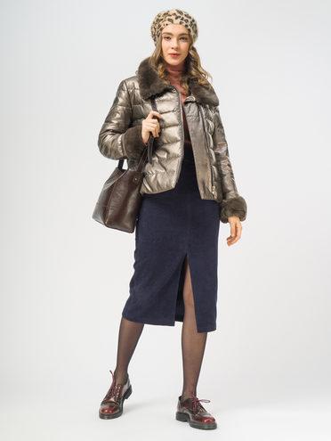 Кожаная куртка эко-кожа 100% П/А, цвет коричневый металлик, арт. 39109344  - цена 14190 руб.  - магазин TOTOGROUP