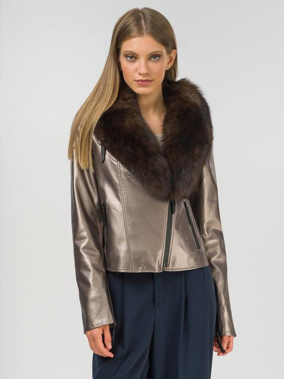 Кожаная куртка эко-кожа 100% П/А, цвет коричневый металлик, арт. 39810034  - цена 9490 руб.  - магазин TOTOGROUP