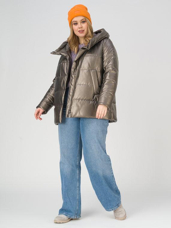 Кожаная куртка эко-кожа 100% П/А, цвет коричневый металлик, арт. 39810514  - цена 4990 руб.  - магазин TOTOGROUP