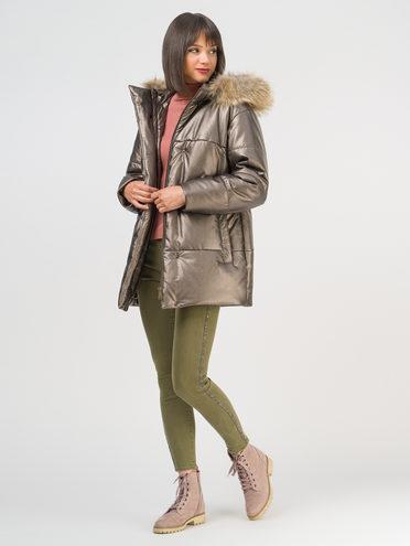 Кожаная куртка эко-кожа 100% П/А, цвет коричневый металлик, арт. 39810685  - цена 11990 руб.  - магазин TOTOGROUP