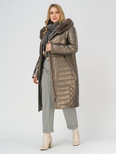 Кожаное пальто эко-кожа 100% П/А, цвет коричневый металлик, арт. 39810767  - цена 12690 руб.  - магазин TOTOGROUP
