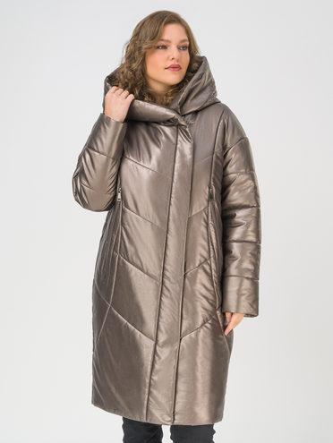 Кожаное пальто эко-кожа 100% П/А, цвет коричневый металлик, арт. 39810778  - цена 10590 руб.  - магазин TOTOGROUP