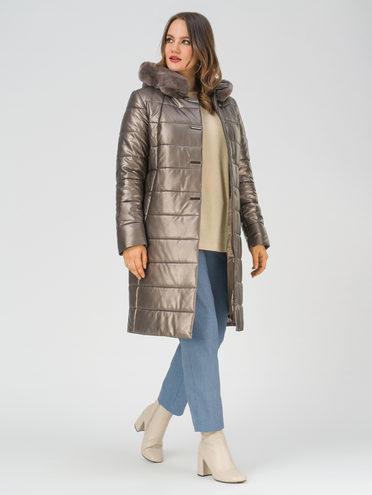 Кожаное пальто эко-кожа 100% П/А, цвет коричневый металлик, арт. 39810781  - цена 13390 руб.  - магазин TOTOGROUP