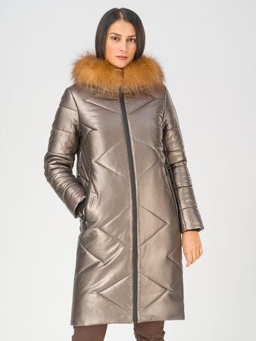 Кожаное пальто эко-кожа 100% П/А, цвет коричневый металлик, арт. 39810788  - цена 16990 руб.  - магазин TOTOGROUP